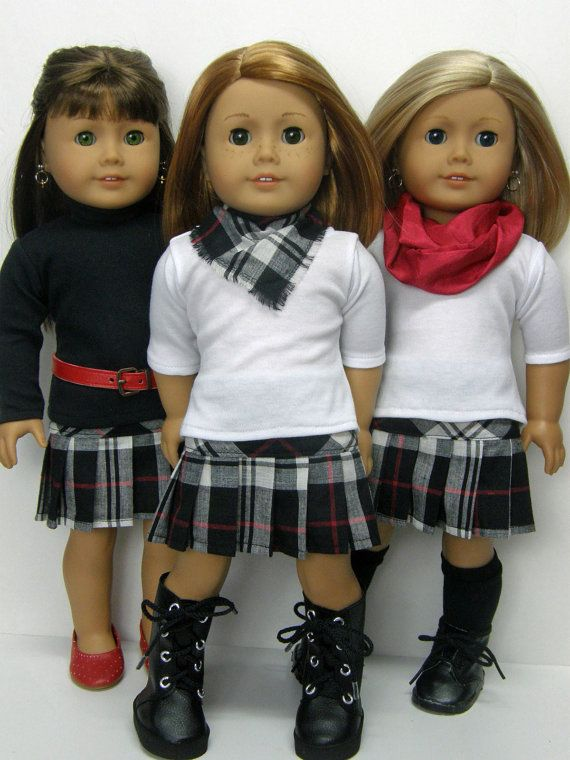 a0f4374f4 Inexpensive 18 inch AG doll clothes, plaid pleated skirt, and white top.  Accessories priced separately.