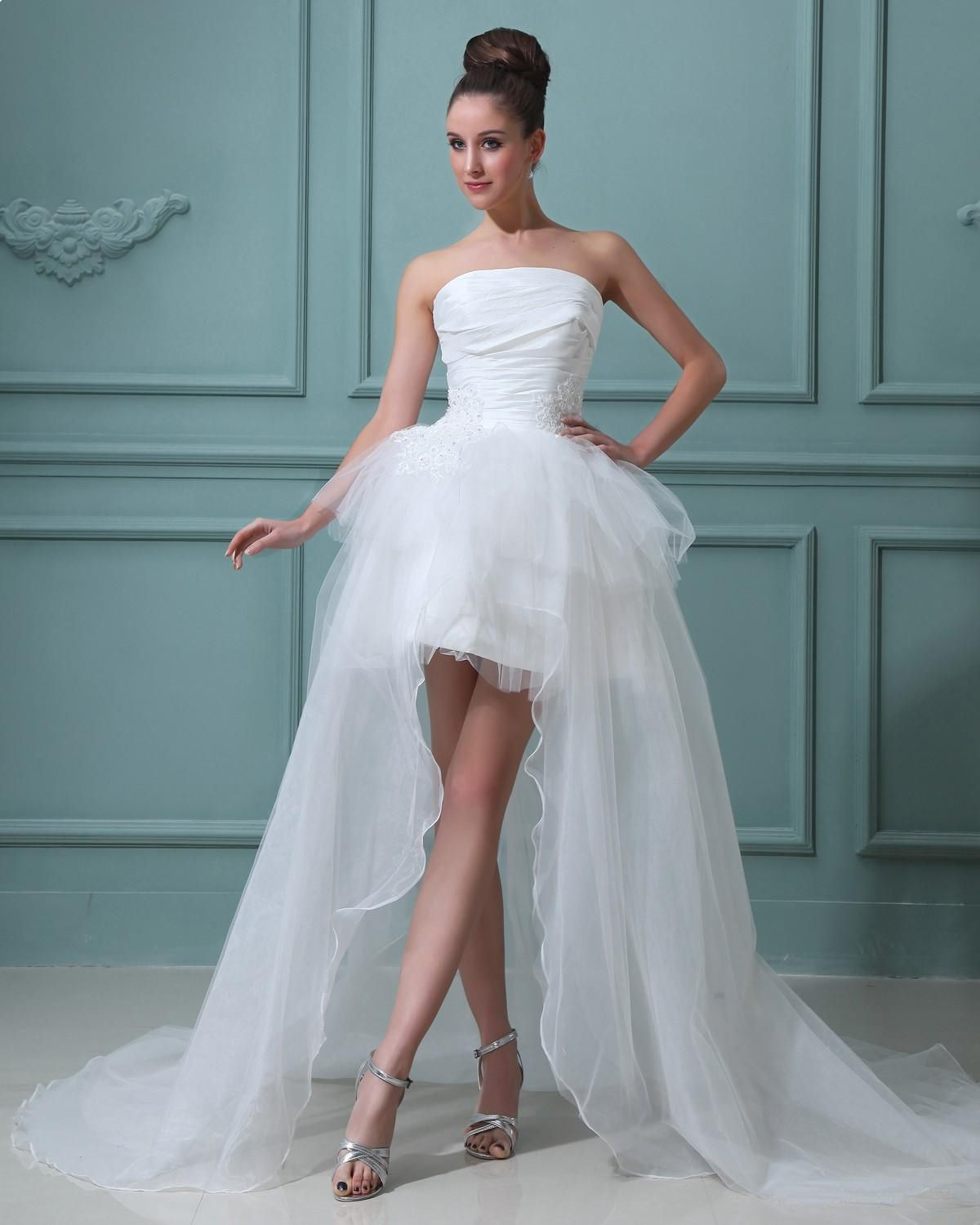 Strapless taffeta short bridal gown wedding dress alineprincess