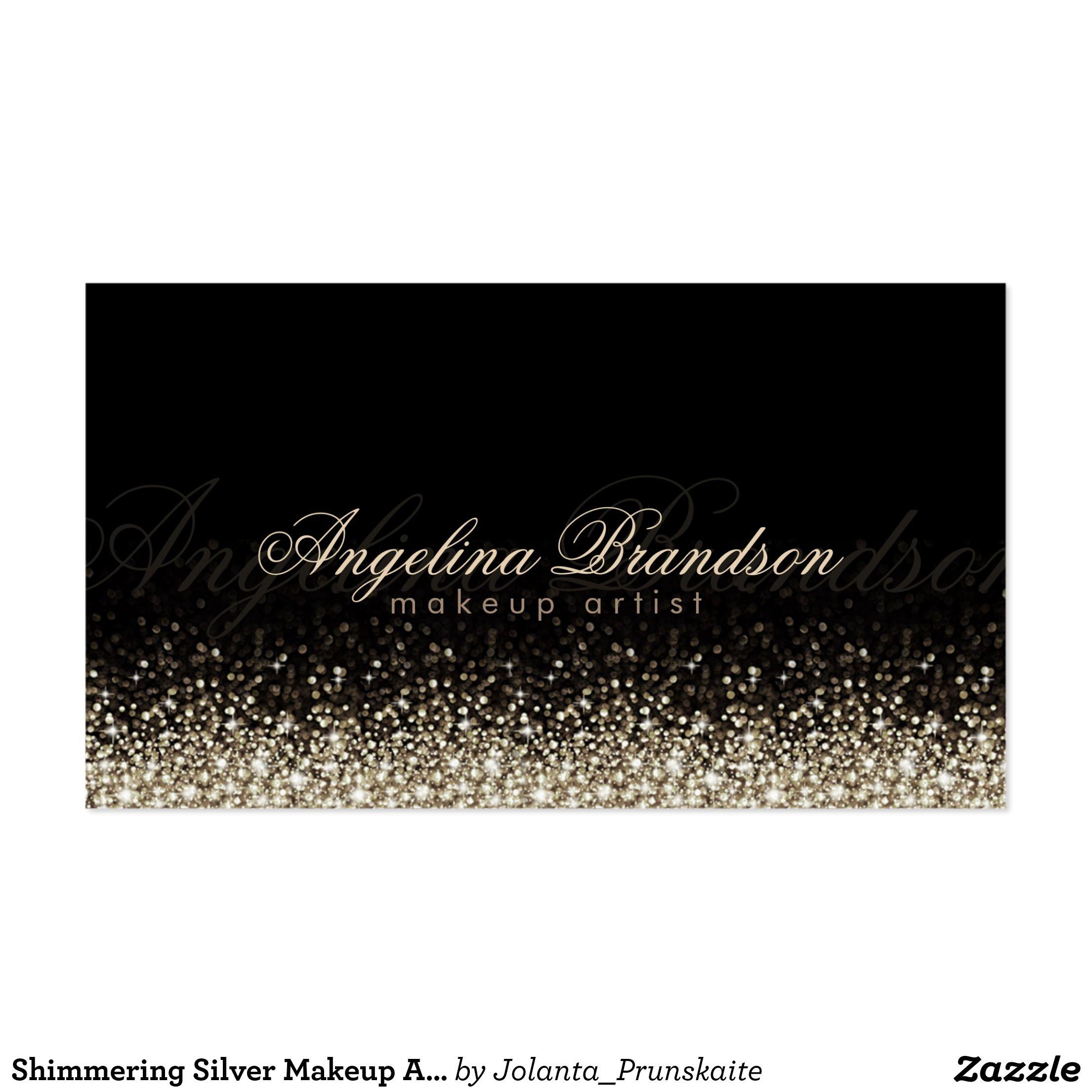 Shimmering Silver Makeup Artist Damask Black Card Pack Of Standard Business Cards