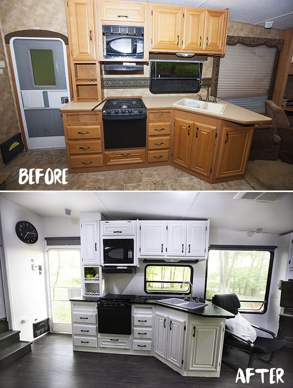 Before And After Kitchen Rv Kitchen Renovation Rv Kitchen Remodel Remodeled Campers Camper Renovation
