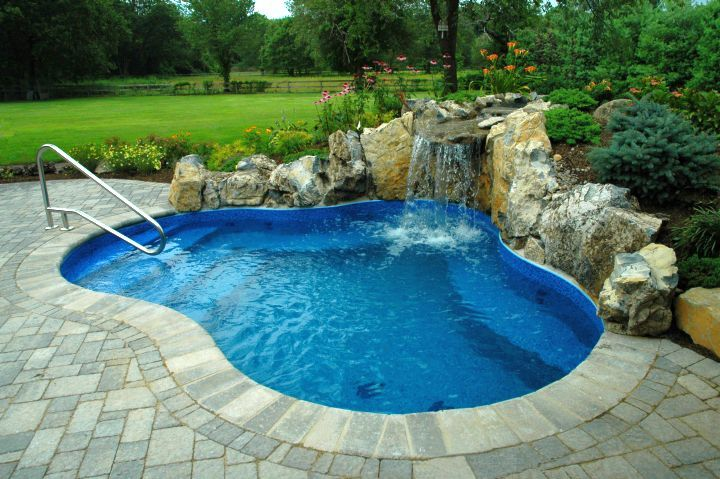 Waterfalls For Pools Inground For Small Yard Jpg 720 479 Small Inground Pool Small Pool Design Small Backyard Pools