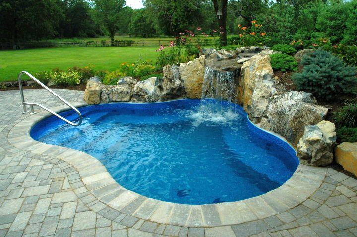 20 Exquisite Waterfalls Designs For Pools Inground Small Inground Pool Small Backyard Pools Small Pool Design