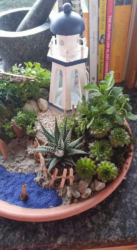 Lighthouse mini garden Jarrones decorativos Pinterest Jardines