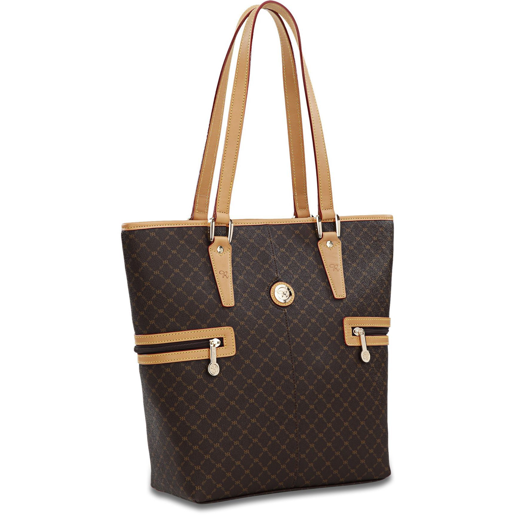 Throw all your goodies into this adorable Rioni Signature tall shopper toteHandbag features gentle dark gold 'RR' Rioni monogram print on a solid brown Italian canvas bodyBag is accented with Italian dual-strap leather handles and trim