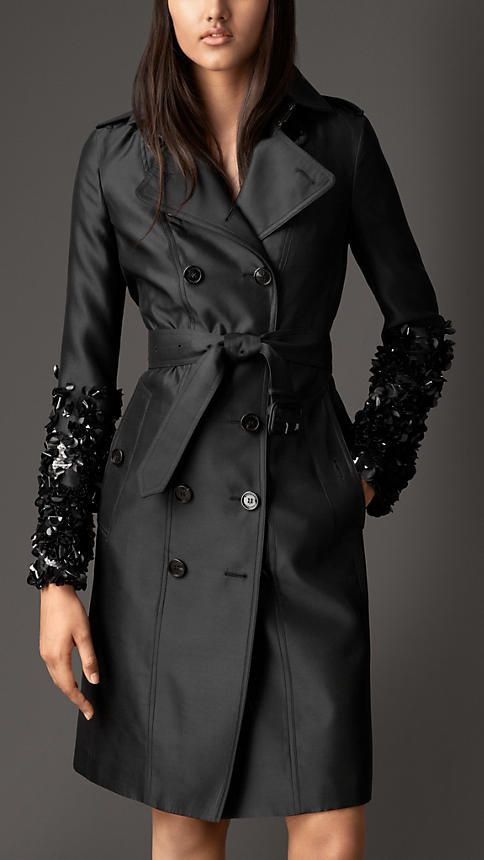 Burberry London Crushed Sequin Silk Blend Trench Coat