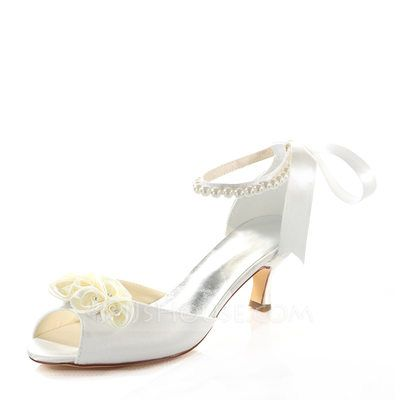 58b974884ea  US  49.99  Women s Silk Like Satin Stiletto Heel Sandals With Flower Crystal  Pearl. Stiletto HeelsWedding ...