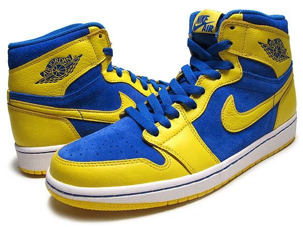 pretty nice 29ba4 13455 NIKE AIR JORDAN 1 RETRO HI OG LANEY  V.MAIZE G.ROYAL-WHT  (555088-707)