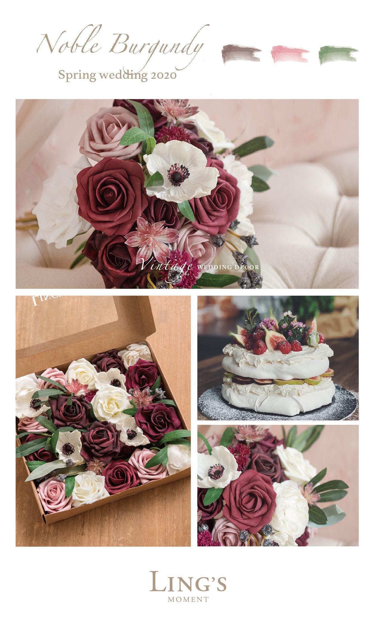 Dusty Rose Burgundy Flower Combo Box Set 14 Style Wedding