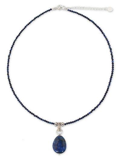 Handmade Lapis Lazuli Pendant Necklace - Blue Lady   NOVICA