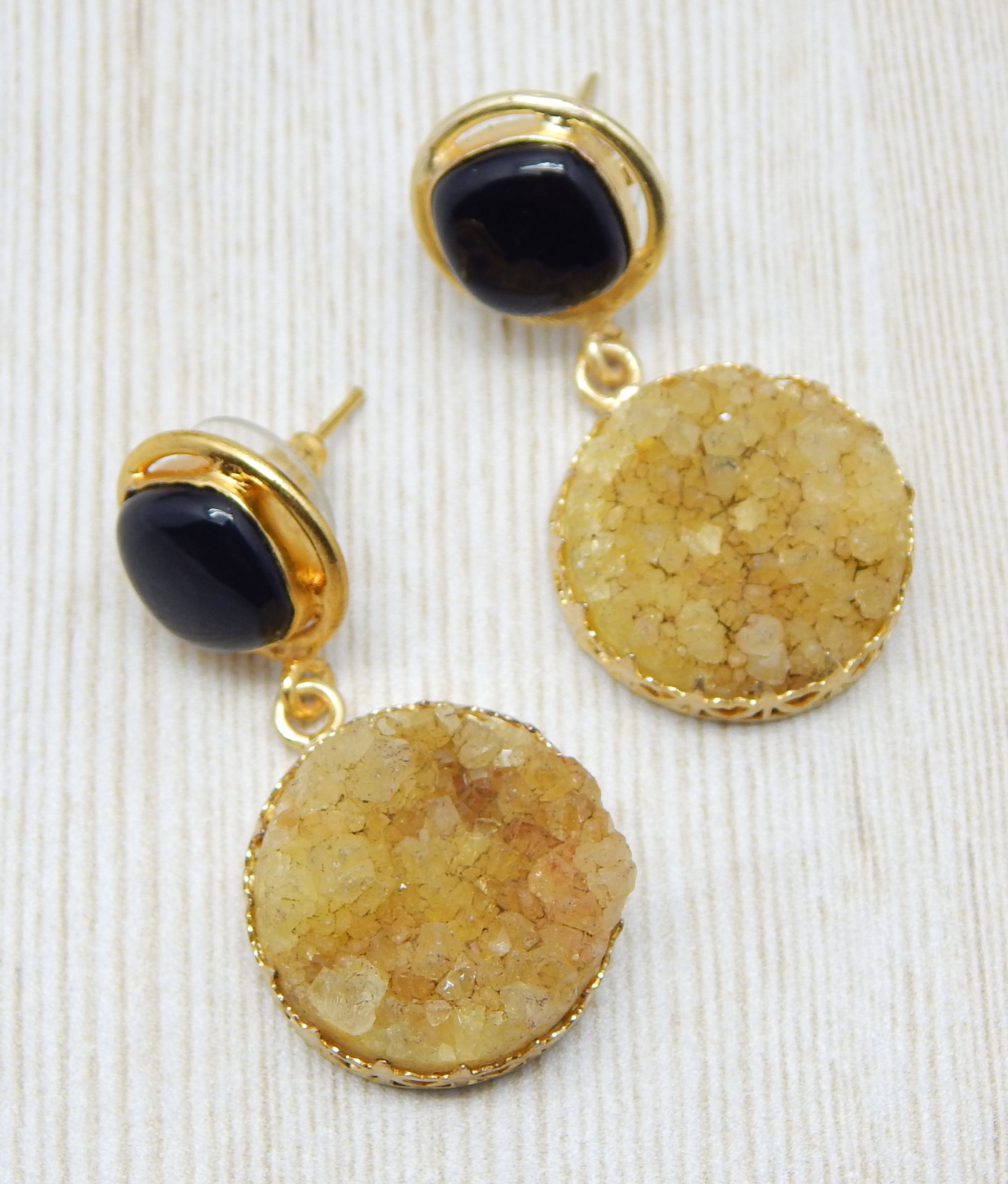 Natural Semi Precious Druzy Gemstone Stud Dangle Earring With 22k Yellow Gold Plated Handcrafted Jewelry Collection