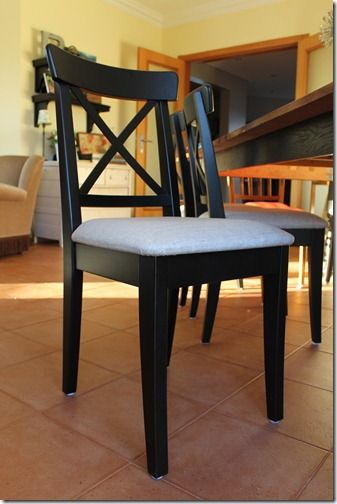 upholstered version of ikea ingolf chair super easy to do with some foam cotton batting and. Black Bedroom Furniture Sets. Home Design Ideas