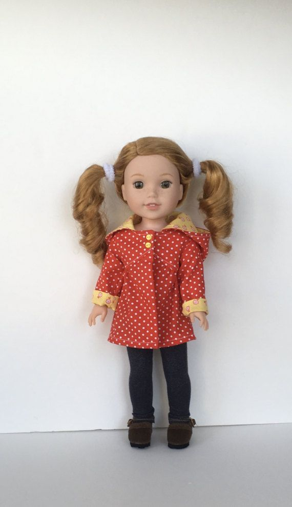 "For 14.5/"" WELLIE WISHER American Girl Doll Clothes Red Polka Dot Leggings"