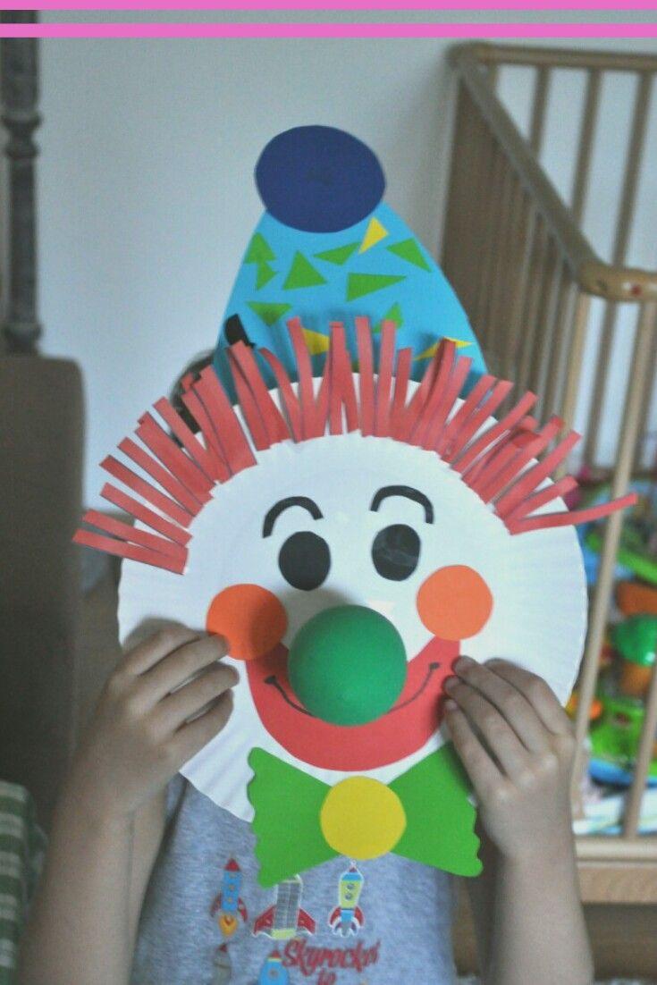 bastelanleitung clown maske clown pappteller basteln mit. Black Bedroom Furniture Sets. Home Design Ideas