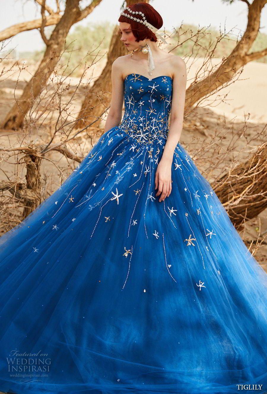 TIGLILY Wedding Dresses Bright Cobalt BlueRoyal Blue Wedding