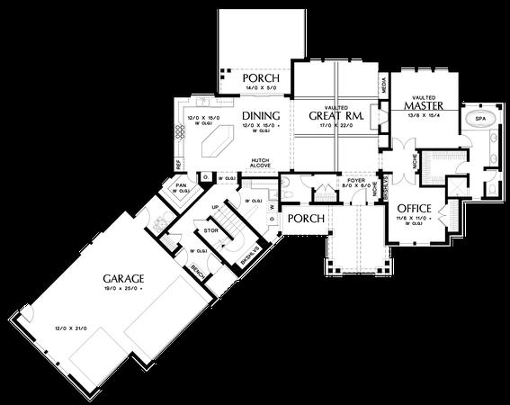 main floor plan of mascord plan 22190 - the silverton - beautiful nw