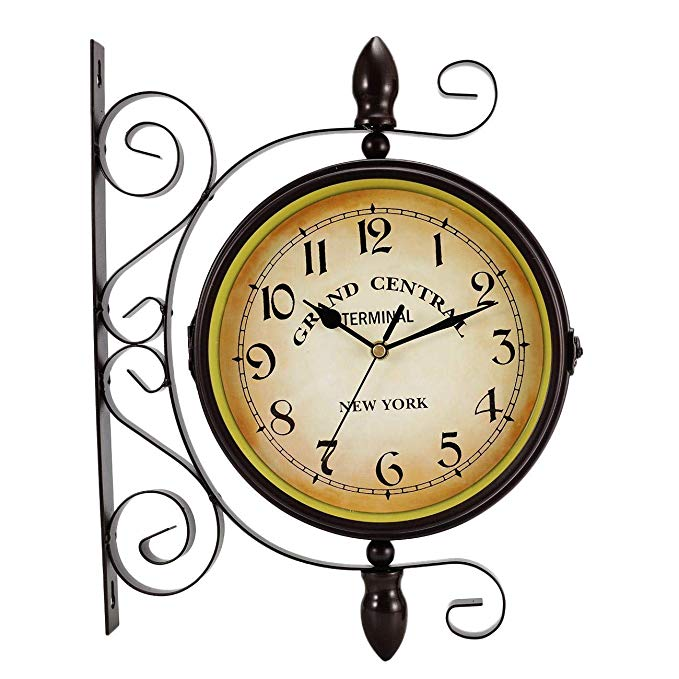 Amazon Com Double Sided Wall Clock Wrought Iron Vintage Station Clock Two Faces Dual Side Antique Vintage Circle Hanging Clock Wall Clock Antique Wall Clock