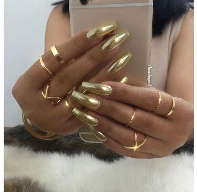 Metallic Gold Nails Gold Chrome Nails Gold Nails Chrome Nails