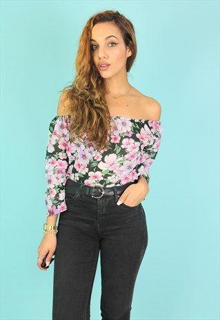 85d613daa44414 Pink   Black Floral Sheer Bardot Top - TP812