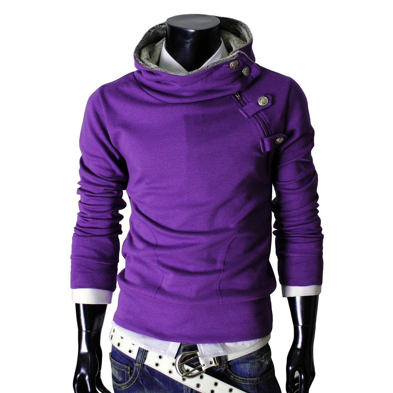 TheLees - mens casual luxury buckle hoodie