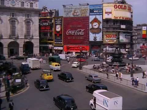 Piccadilly Circus June 1967, by soapbox5 on YouTube.