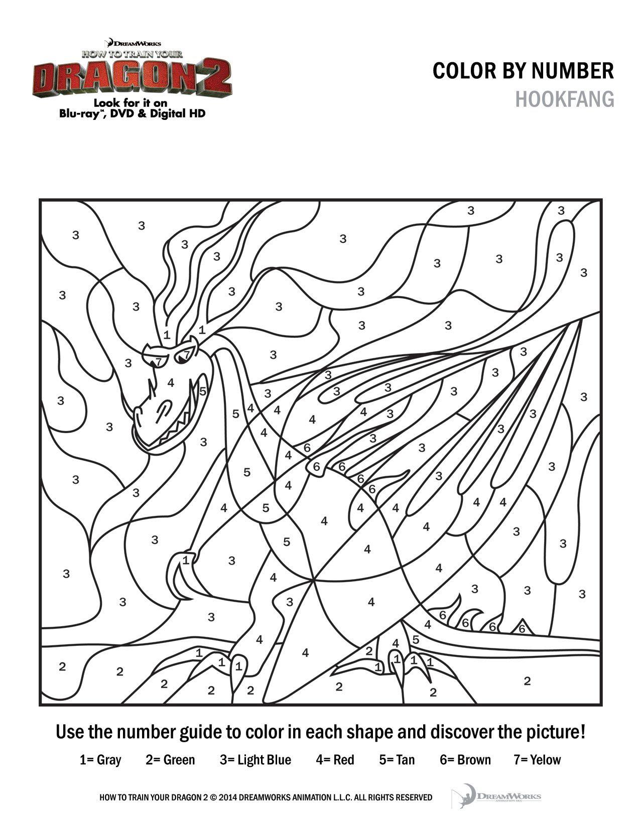 Howtotrainyourdragon2 Downloads Colorbynumber Hookfang Jpg 1275 1650 Malen Nach Zahlen Kinder Drachen Ausmalbilder