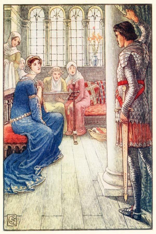 Walter crane les chevaliers du roi arthur chevaliers - La table ronde du roi arthur ...
