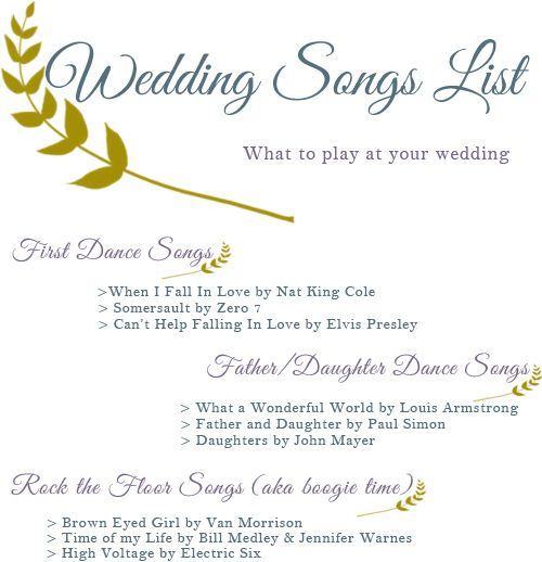 Squirrelly Minds Wedding Songs List