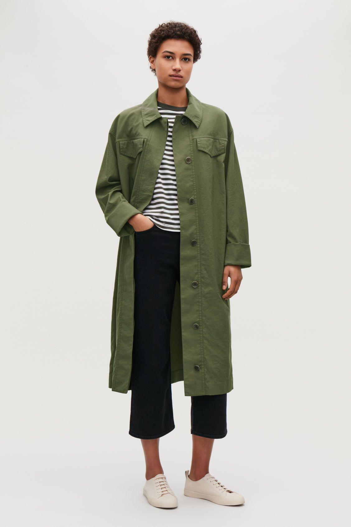 d4a825960fe4 Model side image of Cos long jacket dress in green | Style | Long ...