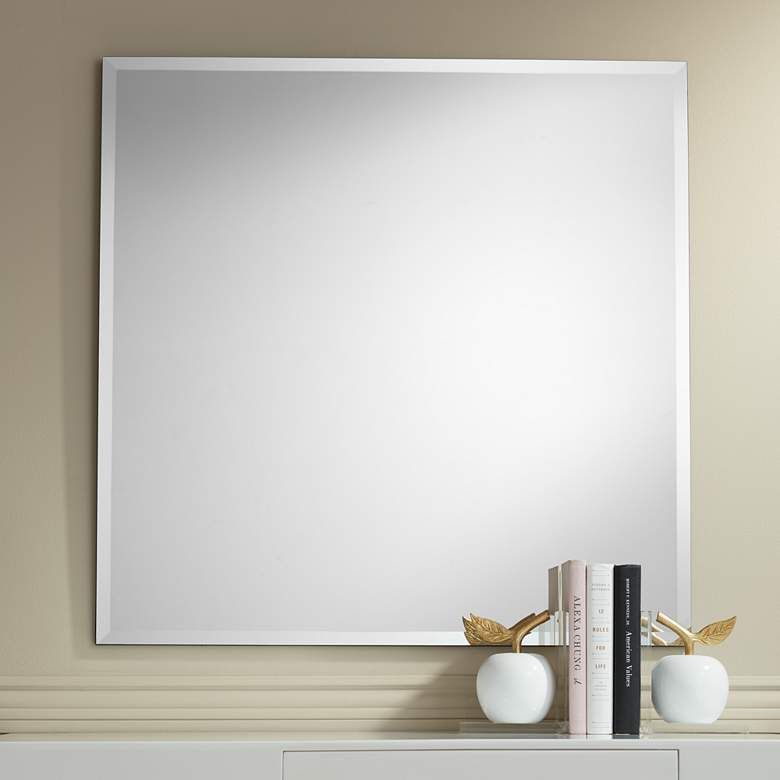 34 Wide Frameless Square Vanity Mirror, Framed Mirror 40 X 60