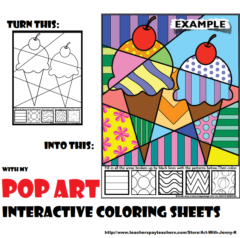 book of over 70 pop art style interactive coloring sheets featuring designs for