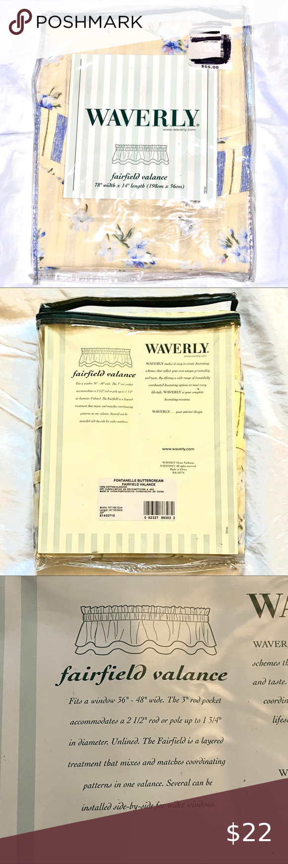 Waverly Fairfield Valance Fontanelle Buttercream Waverly Fairfield Valance