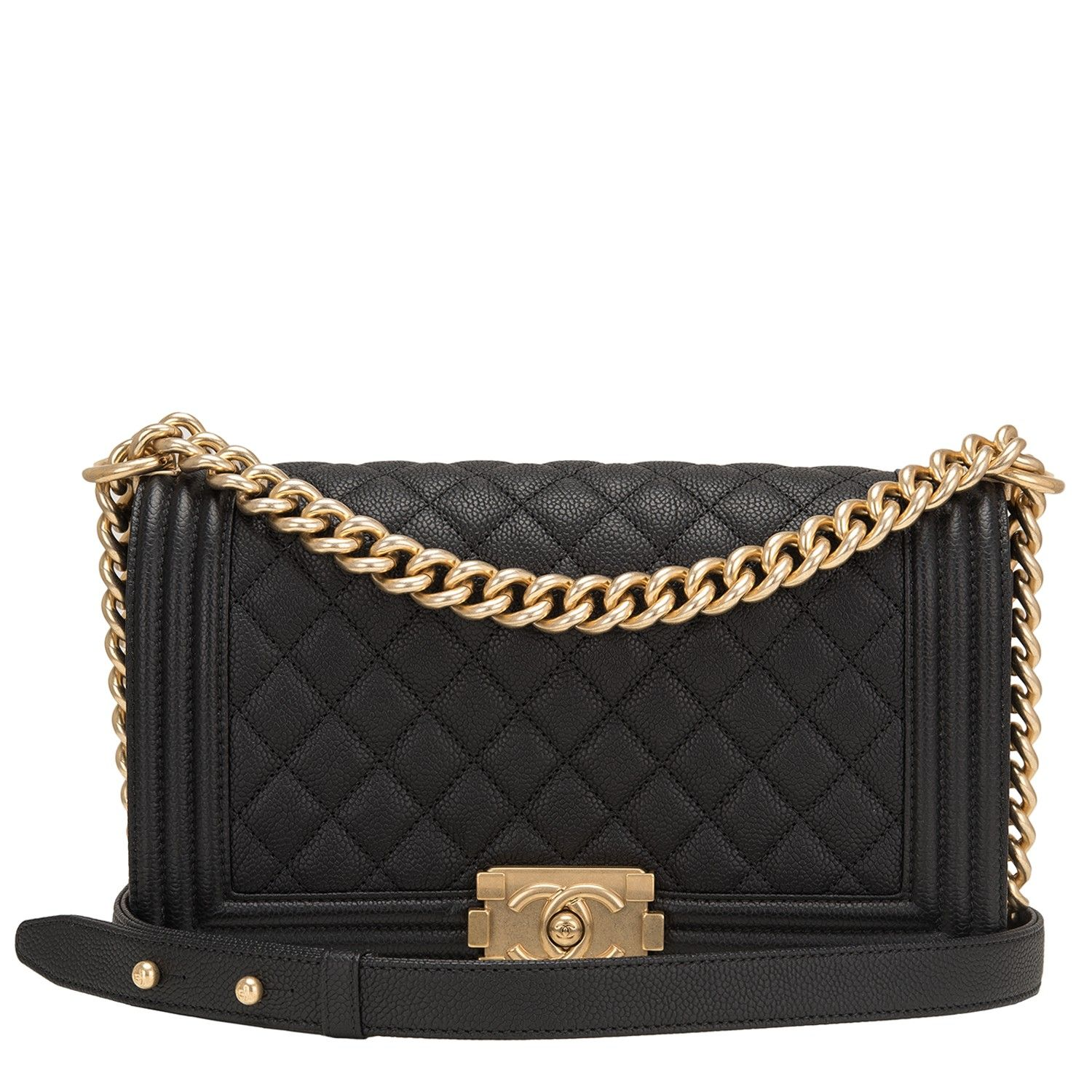Leather quilted handbags and purses - Chanel Old Medium Boy Bag Of Black Quilted Caviar Leather And Antique Gold Hardware This Chanel Bag Is In The Classic Boy Style With A Full Front Flap With