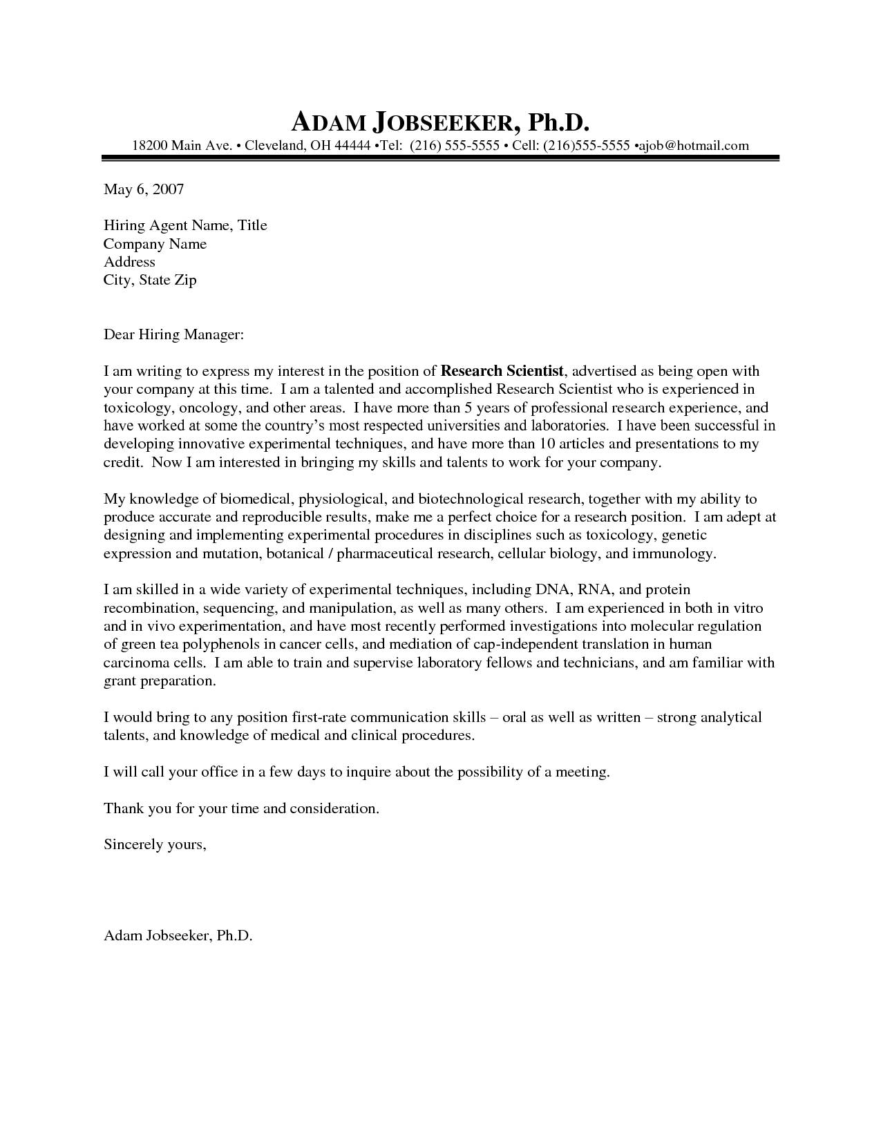Cover Letter Template Science CoverLetterTemplate