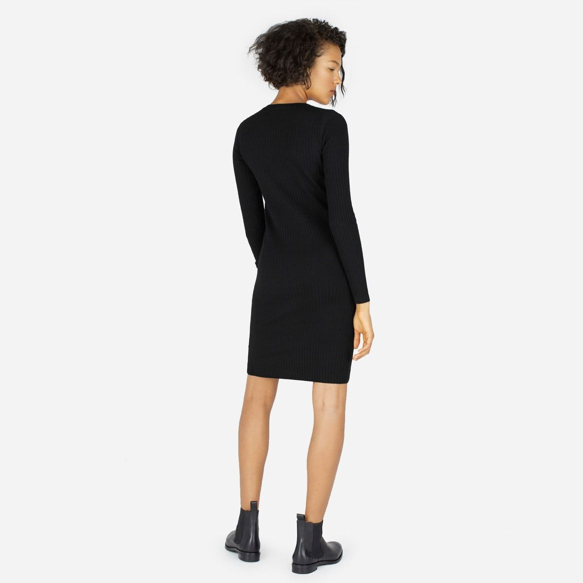 e8255dd3cfc The Luxe Wool Ribbed Long-Sleeve Dress - Everlane