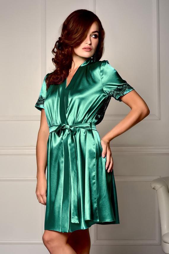49e7b855e3b Green robe Lace back satin robe Bridesmaid robe Short sleeve robe Lace robe  Satin lace robe Plus siz