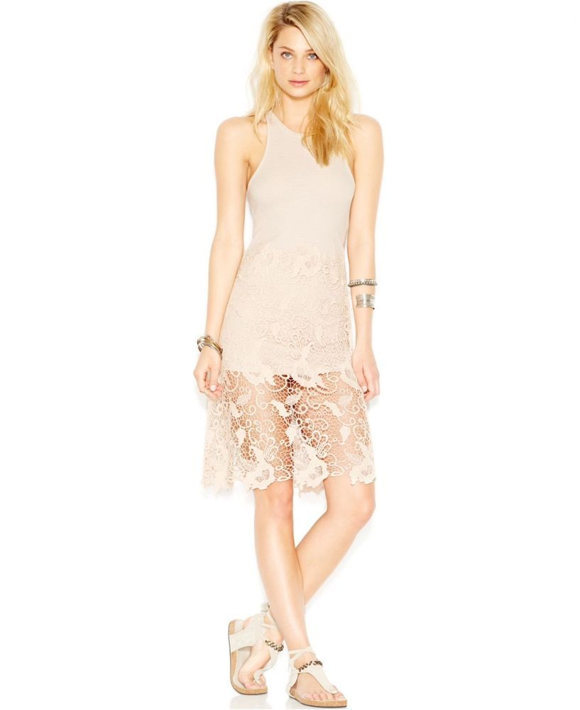 Nwt Free People Cream Nora Lace Tank Dress Size L New Msrp