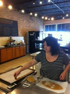 Joana from The Twisted Cookie baking graham crackers for homemade S'mores