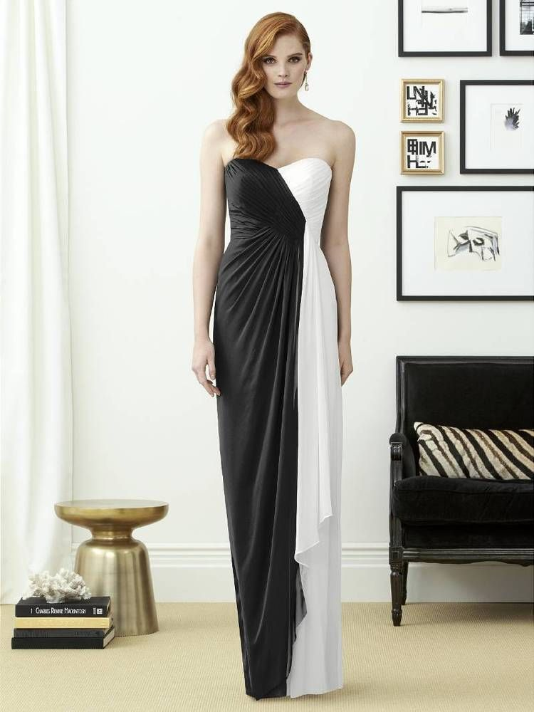 Dessy Collection Bridesmaid Dress Size 8 Formal Prom Black White NEW ...