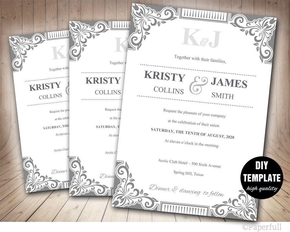DiY Silver Wedding Invitation Template Instant Download, Printable ...