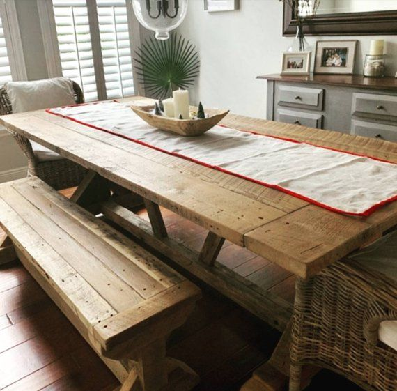 Natural Wood Reclaimed Kitchen Table, Farmhouse Harvest ...