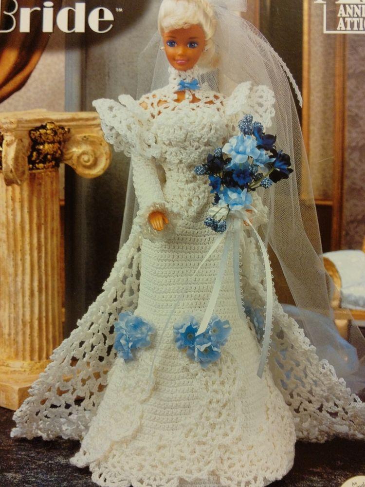 CROCHET BRIDE BARBIE 11.5 FASHION DOLL DRESS PATTERN ANNIE\'S ATTIC ...