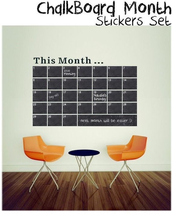 black chalkboard sticker this month wall calendar planner decal