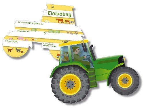 6 Einladungskarten * Trecker * Für Kindergeburtstag Von DH Konzept // //  Kinder Geburtstag Party Jungen Bauernhof Farm Tiere Traktor Einladung Karte  Kinder ...