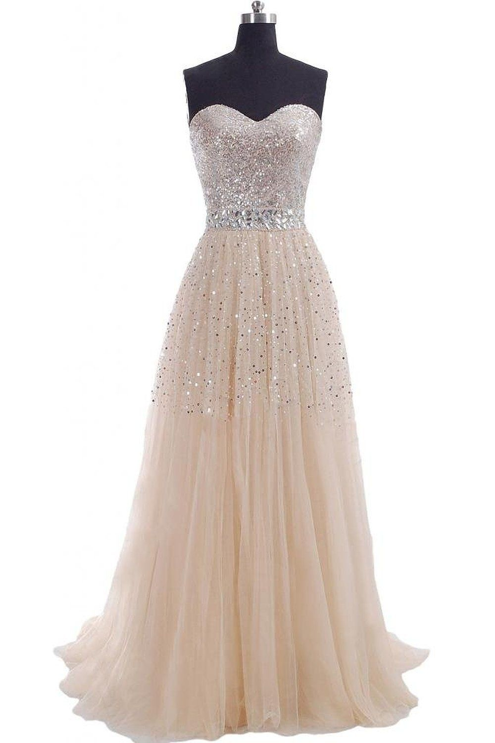 Classic prom dress tulle party dress champagne prom dress long
