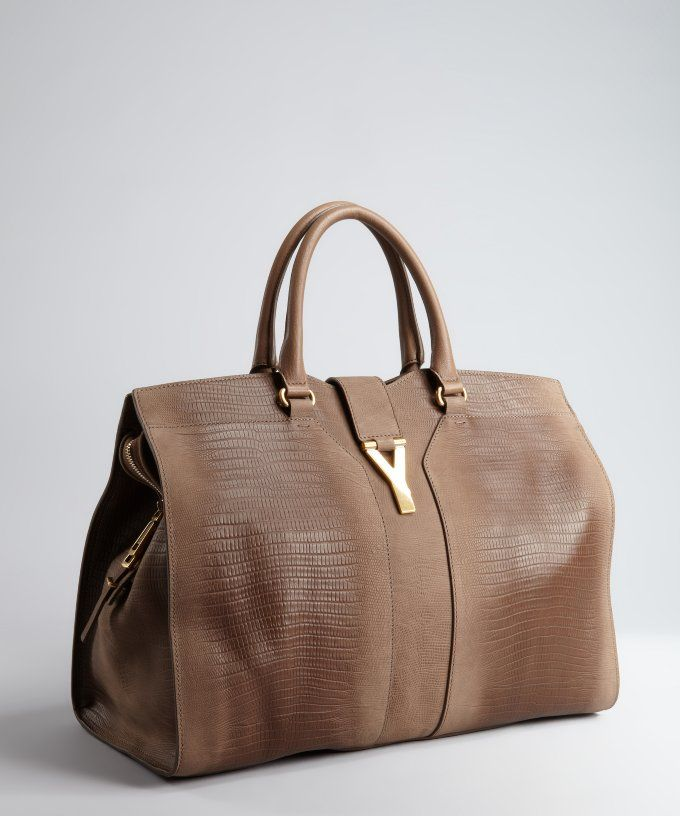 Taupe Croc Embossed Leather 'Cabas Chyc' Tote # #Bags #Handbags