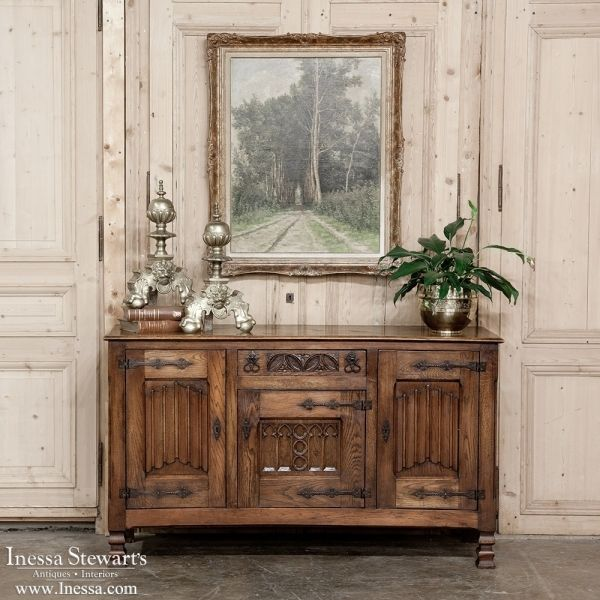 Antique Furniture | Antique Buffets-Sideboards | Renaissance/Gothic Buffets  | French Gothic Oak - Antique Furniture Antique Buffets-Sideboards Renaissance/Gothic