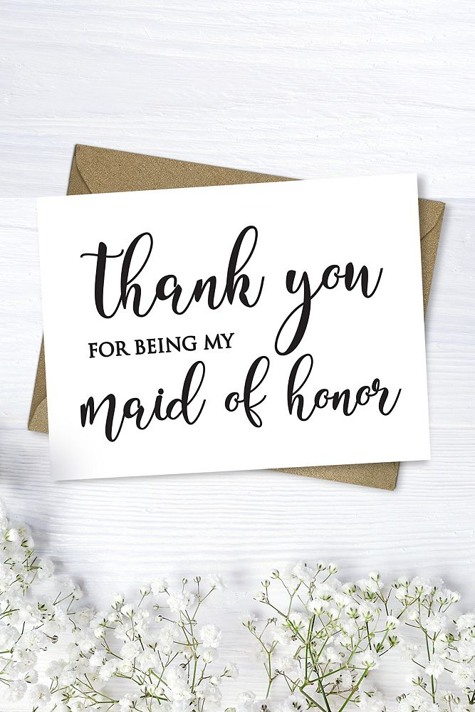 Maid Of Honor Thank You Card Style Crd05 Kraft Products In 2019