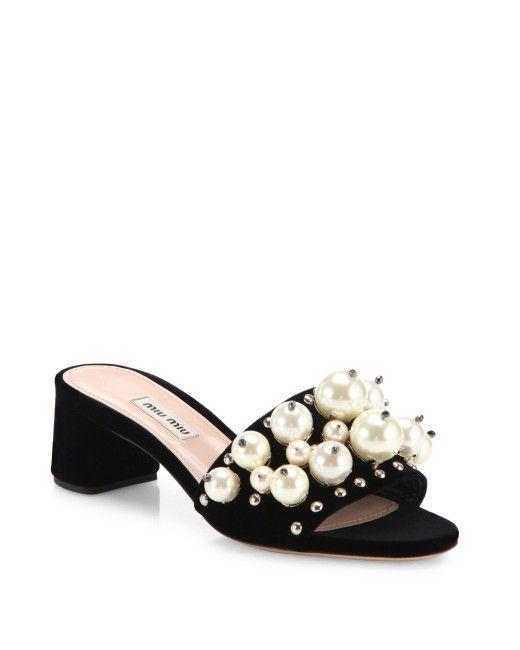 b39151a51166 Women s Black Embellished Velvet Block-heel Slides