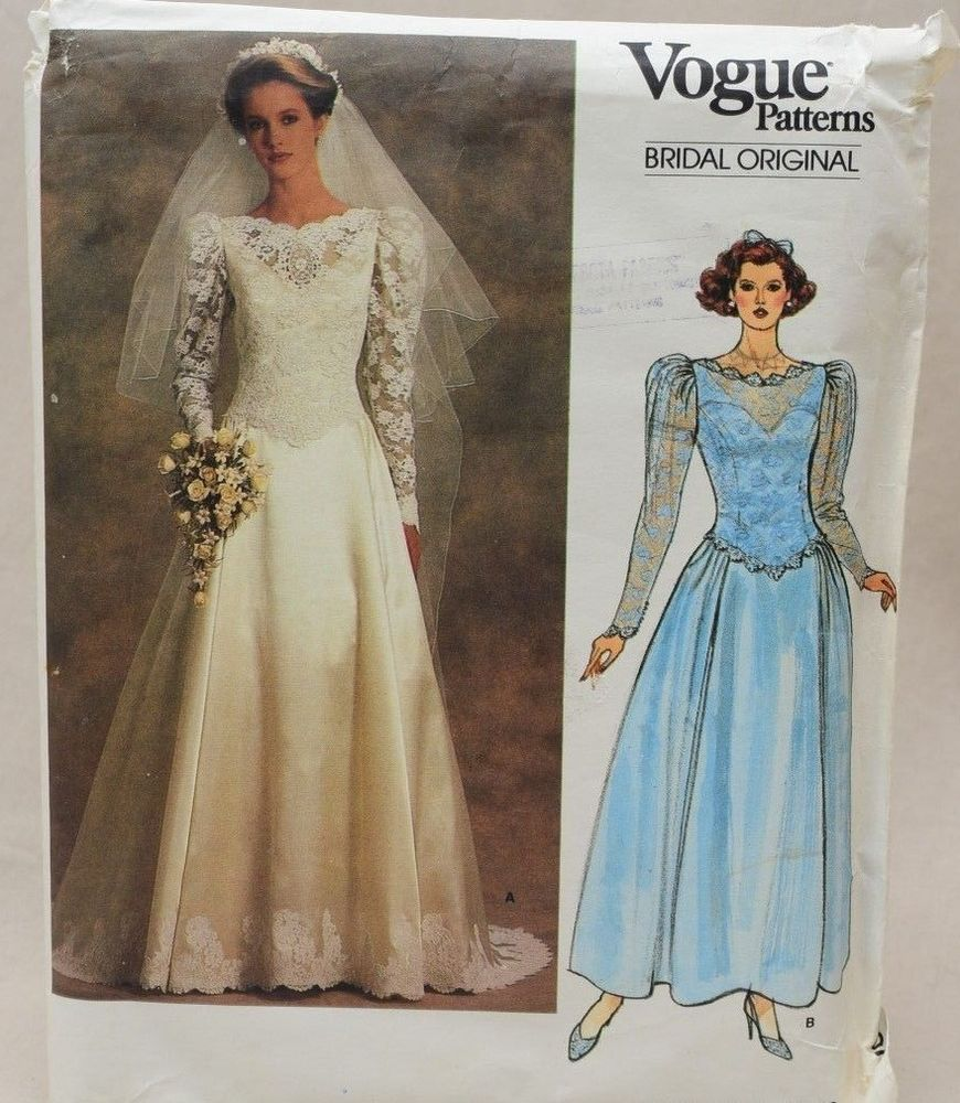 Vogue bridal pattern original wedding gown bride dress size