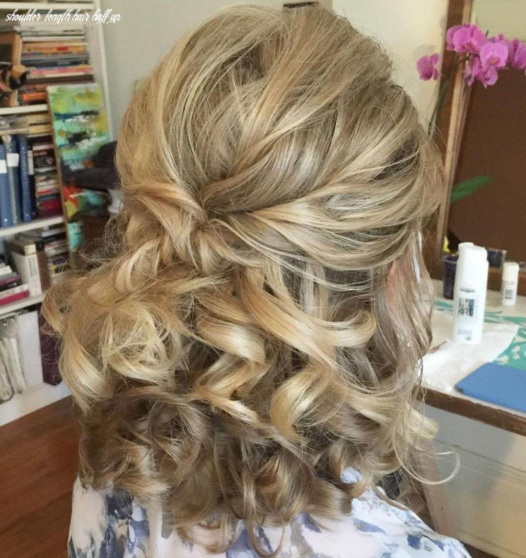 10 Shoulder Length Hair Half Up In 2020 Mother Of The Bride Hair Medium Hair Styles Wedding Hairstyles Medium Length